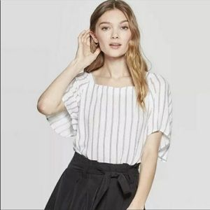 A NEW DAY Square Neck Striped Short Sleeve Top